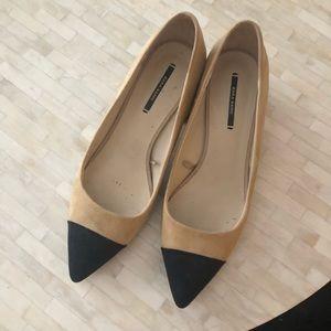 Zara Chanel-esque toe cap block heels